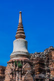 Pagoda at Wat Mahathat Ayutthaya of Thailand. Stupa Ayutthaya on the blue sky, Thailand stock photography