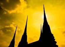 Pagoda at Wat Pho in Thailand. Pagoda in the evening at Wat Phra Chettuphon Wimon Mangkhlaram Ratchaworamahawihan or Wat Pho in Bangkok, Thailand Royalty Free Stock Photography