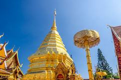 Pagoda at Wat Phra That Doi Suthep Stock Photo