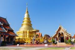 Pagoda in Wat Phra That Hariphunchai a Lamphun a nord della Tailandia Fotografia Stock Libera da Diritti