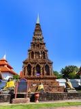 Pagoda in Wat Phra That Hariphunchai at Lamphun north of Thailan Stock Photo
