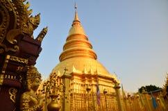 Pagoda in Wat Phra That Hariphunchai at Lamphun north of Thailand Royalty Free Stock Photography