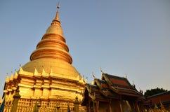 Pagoda in Wat Phra That Hariphunchai at Lamphun north of Thailand Stock Photos