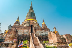 Pagoda at Wat Yai Chaimongkol, Ayuthaya,Thailand Royalty Free Stock Images