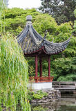 Pagoda with Weeping Willow in Foreground Stock Photo