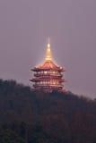 Pagoda at West Lake at twilight, Hangzhou, China Royalty Free Stock Images