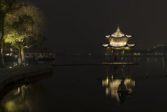 Pagoda at West Lake (XiHu) by night. A pagoda at night in Hangzhou, Capital of Zhejiang Province Stock Photography