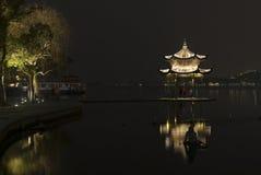 Pagoda at West Lake (XiHu) by night stock photography