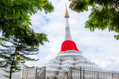 Pagoda. White pagoda with red silk at Kohkred , Nonthaburi ,Thailand Stock Image