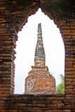 Pagoda in window. At ayutthaya,thailand Royalty Free Stock Photo