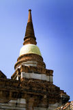 Pagoda wrapped in yellow robes, thailand. Temples and pagodas in Ayutthaia, ancient capital of Thai kingdoms, near Bagkok Royalty Free Stock Photo