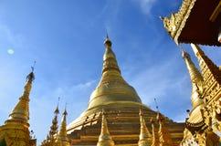 Pagoda in yangon burma gold. Burma pagoda on a clear bluebird day Stock Photos