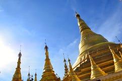 Pagoda in yangon burma gold. Burma pagoda on a clear bluebird day Stock Photo