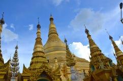 Pagoda in yangon burma gold. Burma pagoda on a clear bluebird day Stock Image