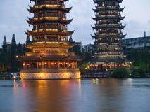 pagodas озера guilin баньяна городские Стоковые Изображения