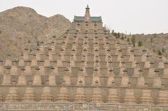 Pagodas al lato della gola del qingtong, fiume giallo Fotografia Stock Libera da Diritti