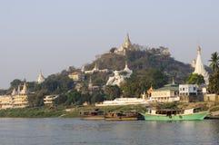Pagodas on Ayeyarwady Royalty Free Stock Images