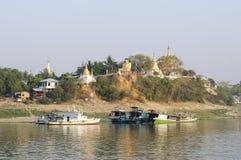 Pagodas on Ayeyarwady Stock Photography