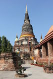 Pagodas in Ayutthaya. Architecture with a focus on history in Ayutthaya, Thailand royalty free stock image