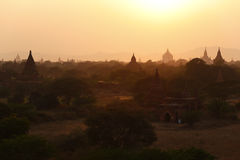 Pagodas of Bagan at Sunset. The temples and pagodas stood on the plains of Bagan, in Myanmar(Burma)。The scency see from the Buledi Phaya in sunrset stock image