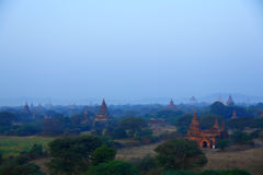 Pagodas of Bagan at Sunset. The temples and pagodas stood on the plains of Bagan, in Myanmar(Burma)。The scency see from the Buledi Phaya in sunrise stock image
