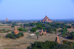 Pagodas of Bagan. The temples and pagodas stood on the plains of Bagan, in Myanmar (Burma)。The scency see from the Shwesandaw Paya in afternoon stock image