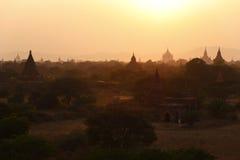 Pagodas of Bagan at Sunset Stock Image