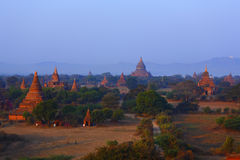 Pagodas of Bagan. The temples and pagodas stood on the plains of Bagan, in Myanmar Burma。The scency see from the Shwesandaw Paya in afternoon royalty free stock photos