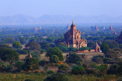 Pagodas of Bagan. The temples and pagodas stood on the plains of Bagan, in Myanmar (Burma)。The scency see from the Shwesandaw Paya in afternoon stock images