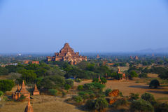 Pagodas of Bagan. The temples and pagodas stood on the plains of Bagan, in Myanmar (Burma)。The scency see from the Shwesandaw Paya in afternoon royalty free stock photography
