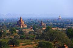Pagodas of Bagan. The temples and pagodas stood on the plains of Bagan, in Myanmar (Burma)。The scency see from the Shwesandaw Paya in afternoon royalty free stock images