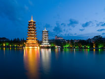 Pagodas in Banyan Lake in down Royalty Free Stock Images