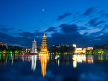 Pagodas in Banyan Lake in down Royalty Free Stock Photos