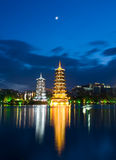 Pagodas in Banyan Lake in down Royalty Free Stock Image