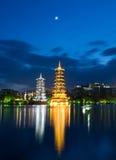 Pagodas in Banyan Lake in down Royalty Free Stock Image