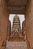 Pagodas behind the door in sukhothai Royalty Free Stock Photo