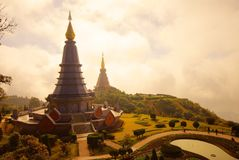 The pagodas - Chiangmai. The two pagodas - Chiangmai,Thailand stock photography