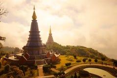 The pagodas - Chiangmai. The two pagodas - Chiangmai,Thailand Stock Photography