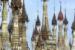 Pagodas de Birmania/de Indein Imagenes de archivo