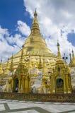 Pagodas encircle the gilded stupa of Shwedagon Pagoda Royalty Free Stock Image