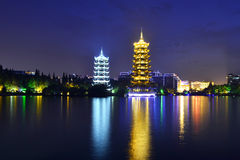 Pagodas in Fir Lake in downtown Guilin Royalty Free Stock Photos