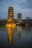 Pagodas Guilin, China. Sun and Moon Pagoda in Guilin, Guangxi, China Royalty Free Stock Images