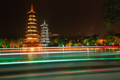 Pagodas guilin china Stock Photo
