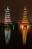 China Guilin Twin Towers Stock Photography