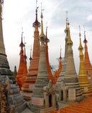 Pagodas at Indein, Inle Lake, Myanmar. Shwe Indein Pagoda, a group of Buddhist pagodas near Ywama and Inlay Lake in Shan State, Burma Stock Image
