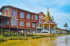 Pagodas on Inle Lake, Myanmar. Ywama township on Inle Lake boasts numerous Buddhist temples, monasteries and shrines with preserved medieval pagodas, making this royalty free stock photography