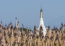 Pagodas at Kakku. Kakku pagodas are nearly 2500 beautiful stone stupas hidden in a remote area of Myanmar not very far from the lake Inle. This sacred place is stock photography