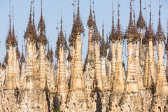 Pagodas at Kakku. Kakku pagodas are nearly 2500 beautiful stone stupas hidden in a remote area of Myanmar not very far from the lake Inle. This sacred place is royalty free stock images