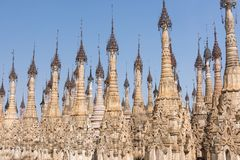 Pagodas at Kakku. Kakku pagodas are nearly 2500 beautiful stone stupas hidden in a remote area of Myanmar not very far from the lake Inle. This sacred place is royalty free stock image
