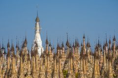 Pagodas at Kakku. Kakku pagodas are nearly 2500 beautiful stone stupas hidden in a remote area of Myanmar not very far from the lake Inle. This sacred place is stock photos